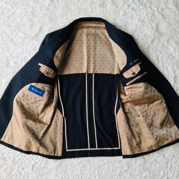 6716 超美品xスリーピース DORMEUIL ドーメル シングル スーツ ネイビーxゴールド M~L メンズ ストライプ 3ピース_画像6