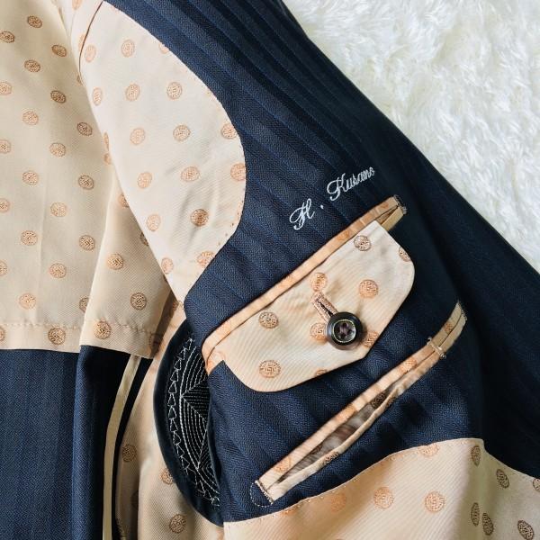6716 超美品xスリーピース DORMEUIL ドーメル シングル スーツ ネイビーxゴールド M~L メンズ ストライプ 3ピース_画像8