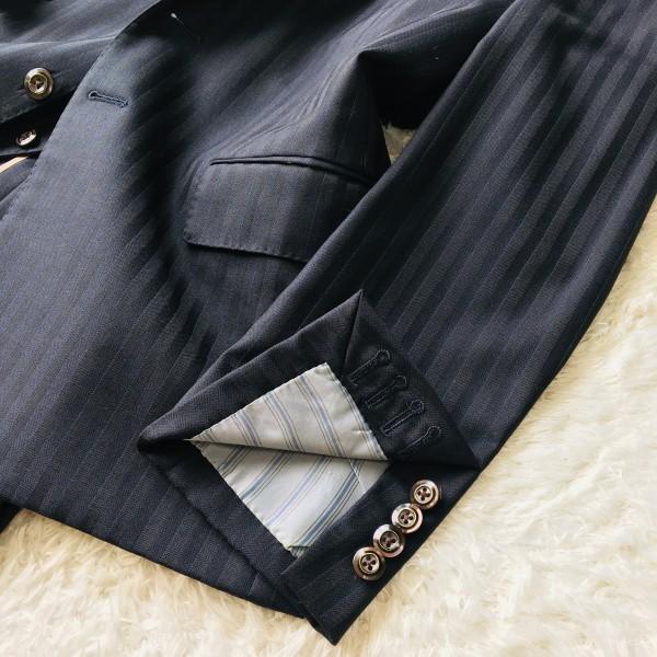 6716 超美品xスリーピース DORMEUIL ドーメル シングル スーツ ネイビーxゴールド M~L メンズ ストライプ 3ピース_画像5