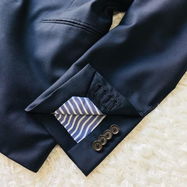 6689 新品同様 トゥモローランドxゼニア トロフェオ tomorrowland Zegna TROFEO メンズ シングル ネイビー スーツ 未使用に近い M~L_画像6