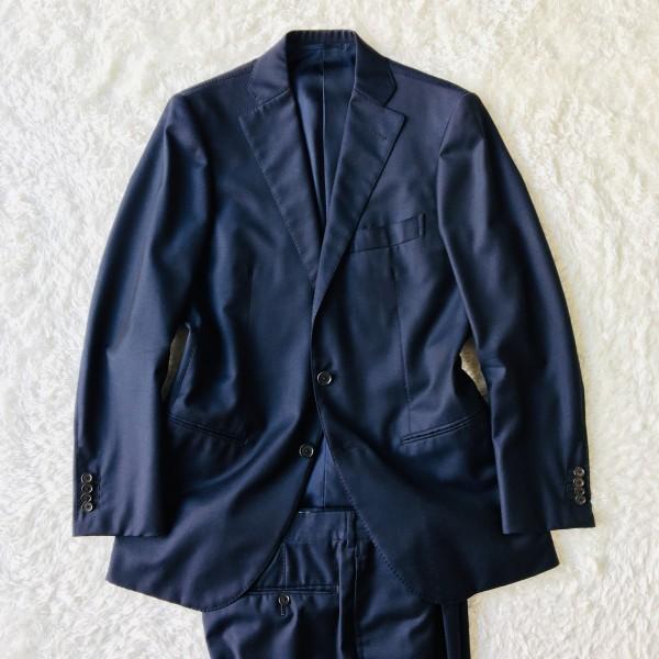 6689 新品同様 トゥモローランドxゼニア トロフェオ tomorrowland Zegna TROFEO メンズ シングル ネイビー スーツ 未使用に近い M~L