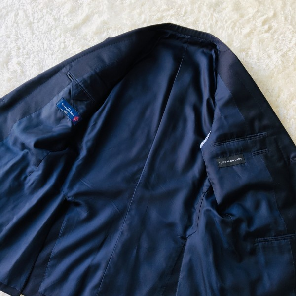 6689 新品同様 トゥモローランドxゼニア トロフェオ tomorrowland Zegna TROFEO メンズ シングル ネイビー スーツ 未使用に近い M~L_画像8