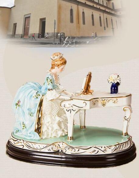 ピアノを弾く女性像■インテリア置物 西洋彫刻オブジェ雑貨飾り 北欧陶器装飾 彫刻エレガントデザイ 家具ホームデコ 芸術雑貨家具 Goo-A