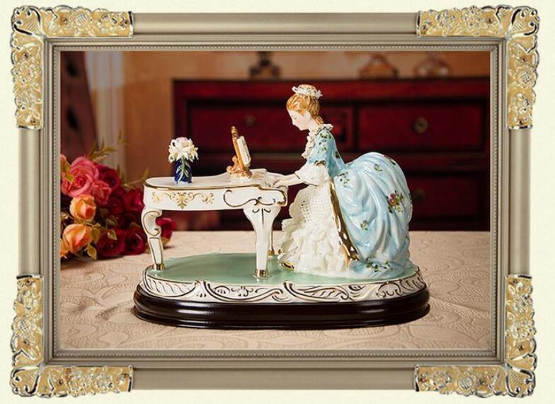 ピアノを弾く女性像■インテリア置物 西洋彫刻オブジェ雑貨飾り 北欧陶器装飾 彫刻エレガントデザイ 家具ホームデコ 芸術雑貨家具 Goo-A_画像8
