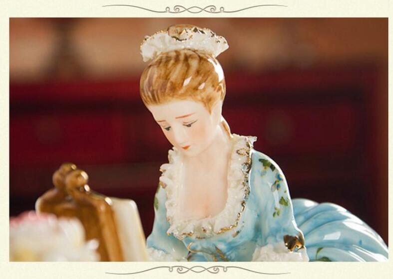 ピアノを弾く女性像■インテリア置物 西洋彫刻オブジェ雑貨飾り 北欧陶器装飾 彫刻エレガントデザイ 家具ホームデコ 芸術雑貨家具 Goo-A_画像4