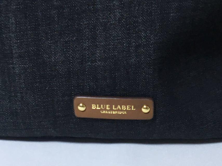 新品タグ付き ブルーレーベルクレストブリッジ チェックのおリボンが可愛いデニムのA4トートバッグ_画像4