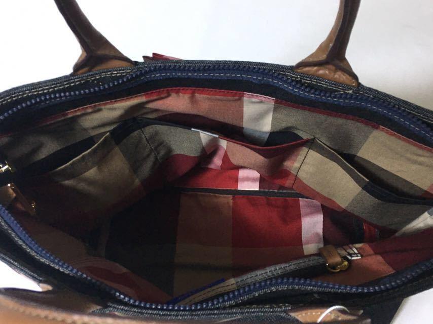 新品タグ付き ブルーレーベルクレストブリッジ チェックのおリボンが可愛いデニムのA4トートバッグ_画像8