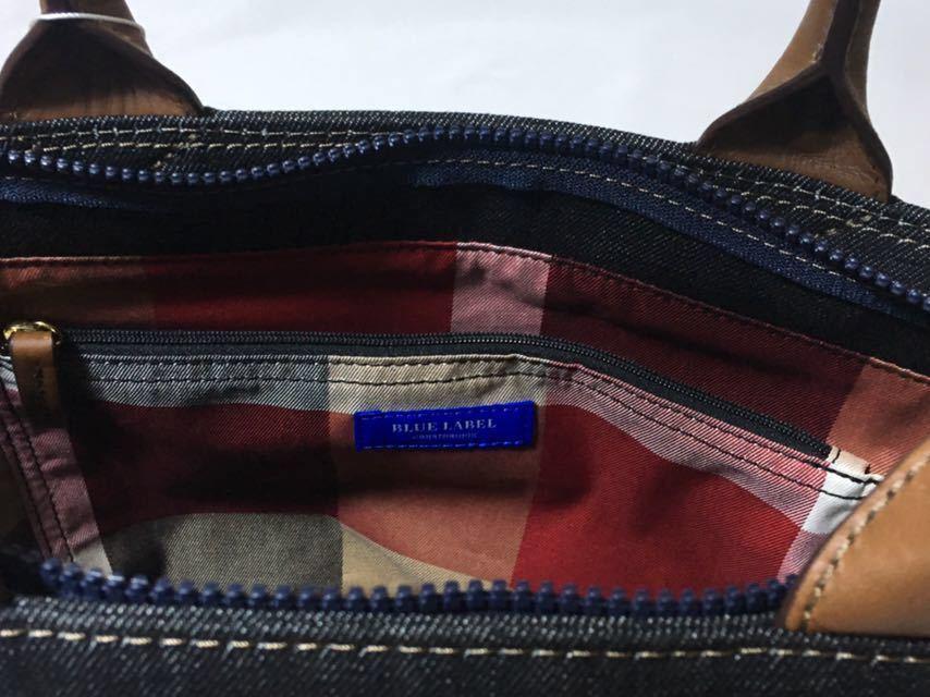 新品タグ付き ブルーレーベルクレストブリッジ チェックのおリボンが可愛いデニムのA4トートバッグ_画像3
