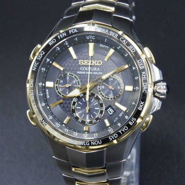 ●訳アリ● 誤差10万年に1秒 SEIKO セイコー COUTURA コーチュラ SSG010 クロノグラフ ワールドタイム 電波 ソーラー 逆輸入 SEIKO 腕時計