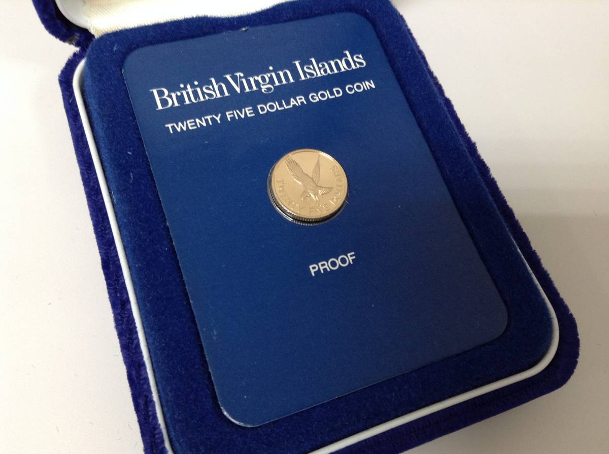 3184■ 外国コイン フランクリンミント 1980年 英領 ヴァージン諸島 25ドル金貨 記念貨幣 ケース付き_画像3