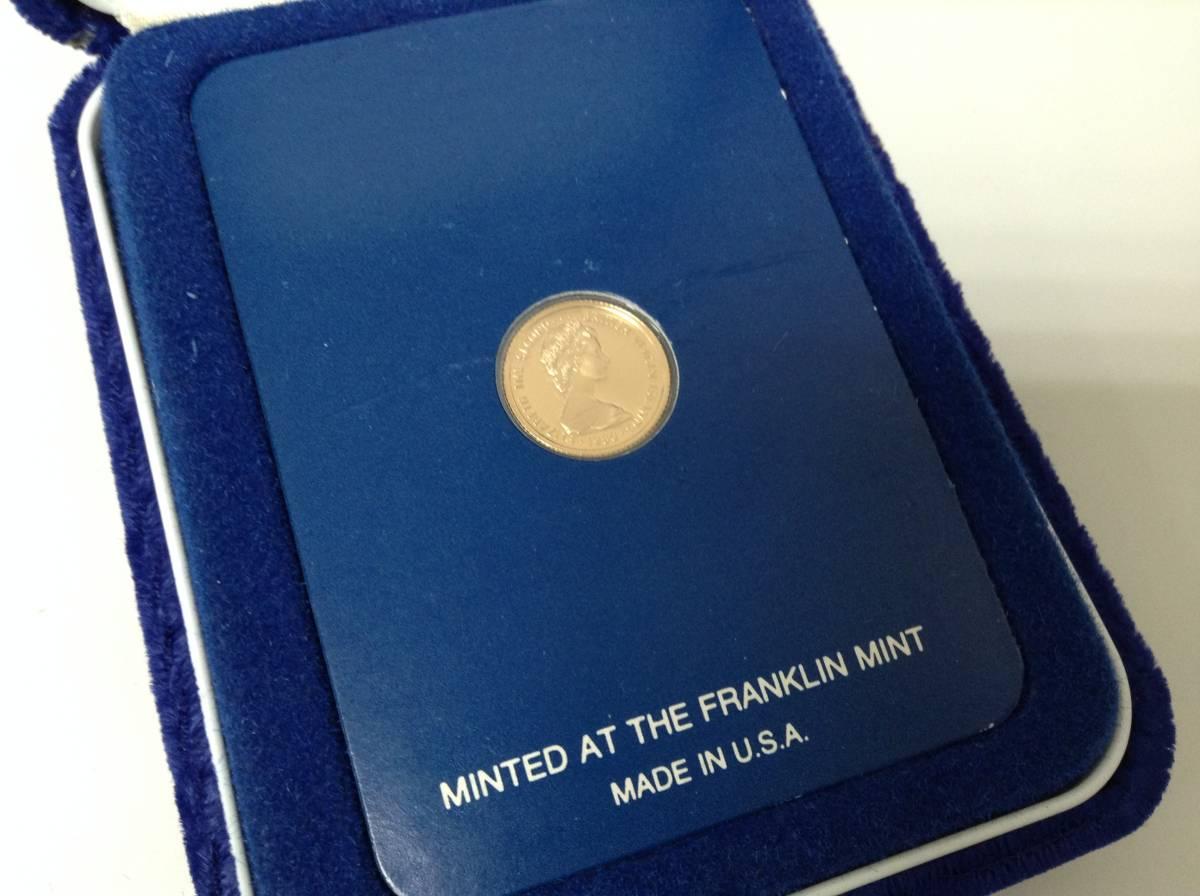 3184■ 外国コイン フランクリンミント 1980年 英領 ヴァージン諸島 25ドル金貨 記念貨幣 ケース付き_画像2