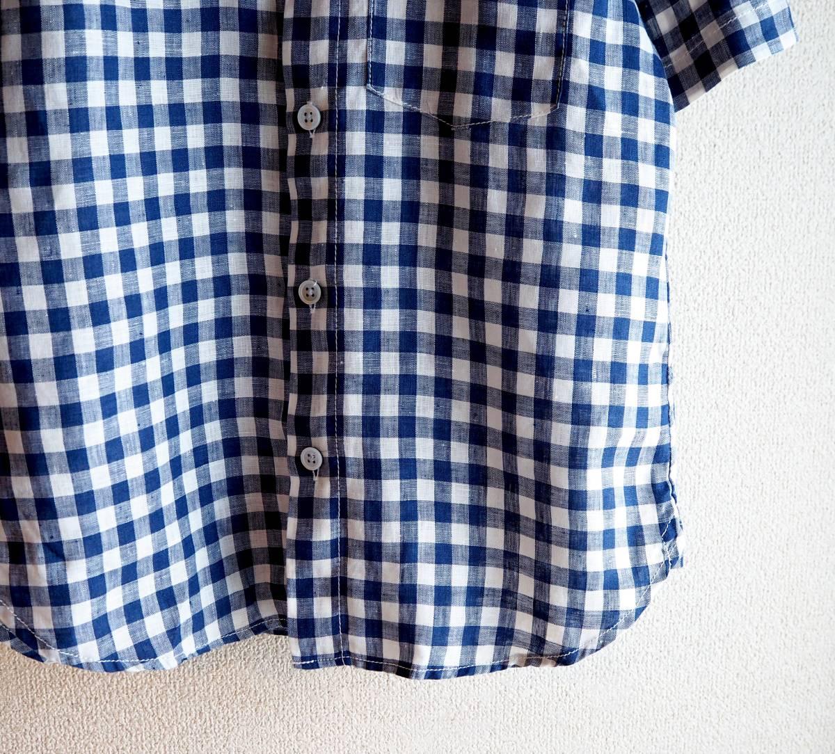 *prit プリット*ギンガムチェック柄 半袖シャツ ネイビー×ホワイト リネン100% 日本製_画像3