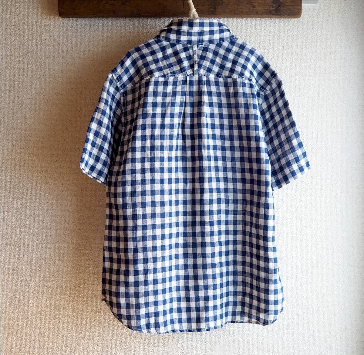 *prit プリット*ギンガムチェック柄 半袖シャツ ネイビー×ホワイト リネン100% 日本製_画像6