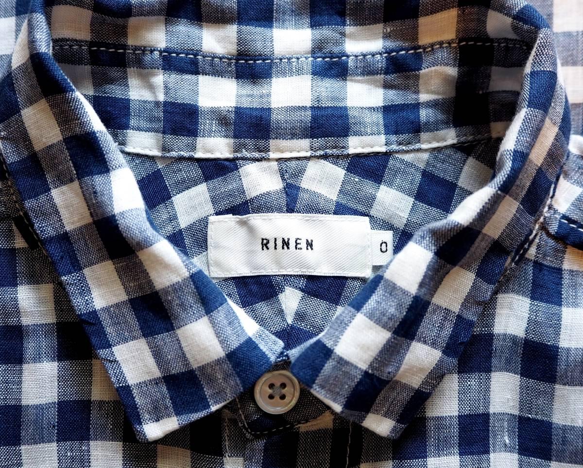 *prit プリット*ギンガムチェック柄 半袖シャツ ネイビー×ホワイト リネン100% 日本製_画像7