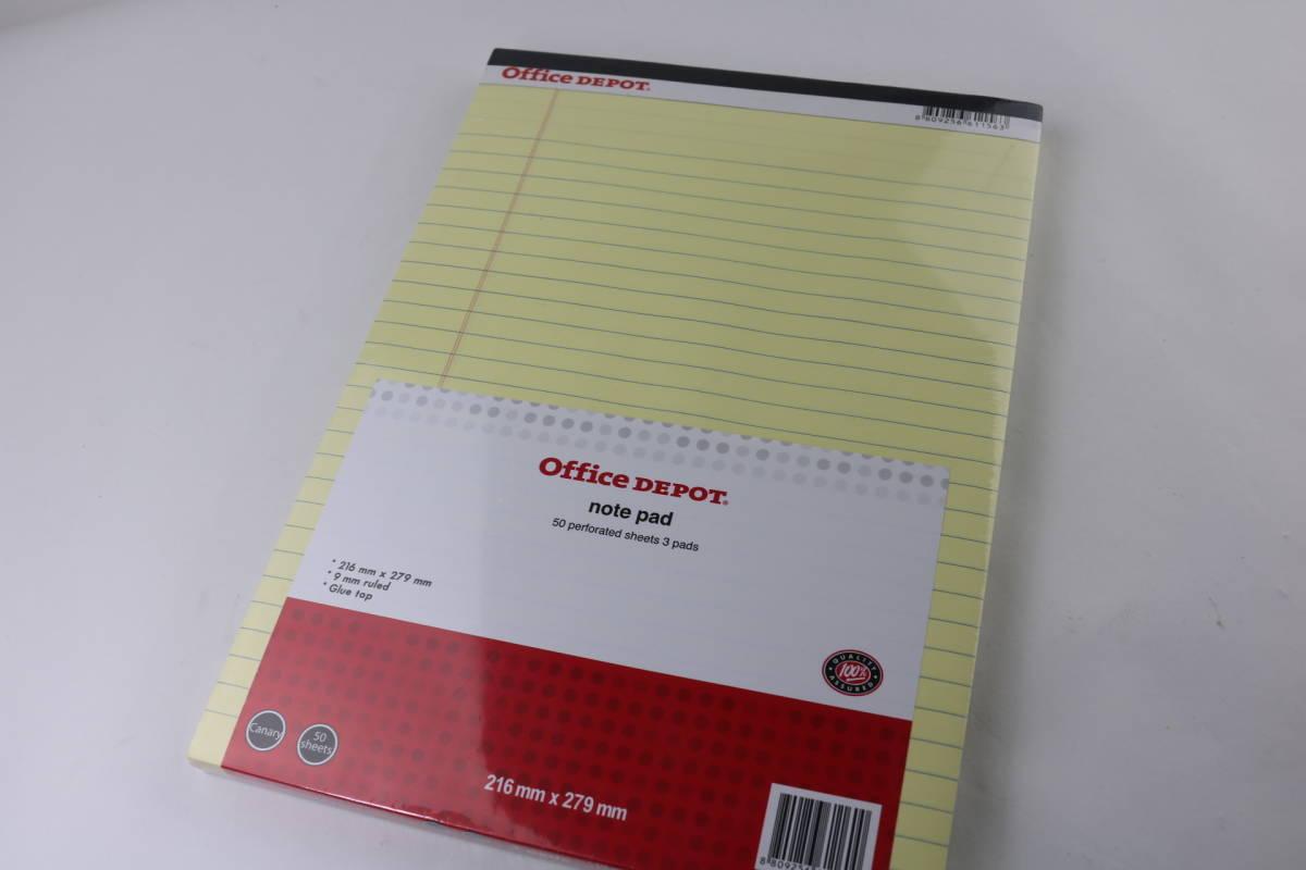 新品未使用 オフィス・デポ レポート用紙 ライティングパッド レターサイズ イエロー 10点まとめて_画像3