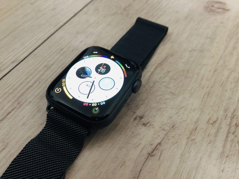 【新品同様】Apple Watch 4 cellular 44mm スペースグレイ ミラネーゼループ バンド付き(38 40 42 アップルウォッチ_画像3