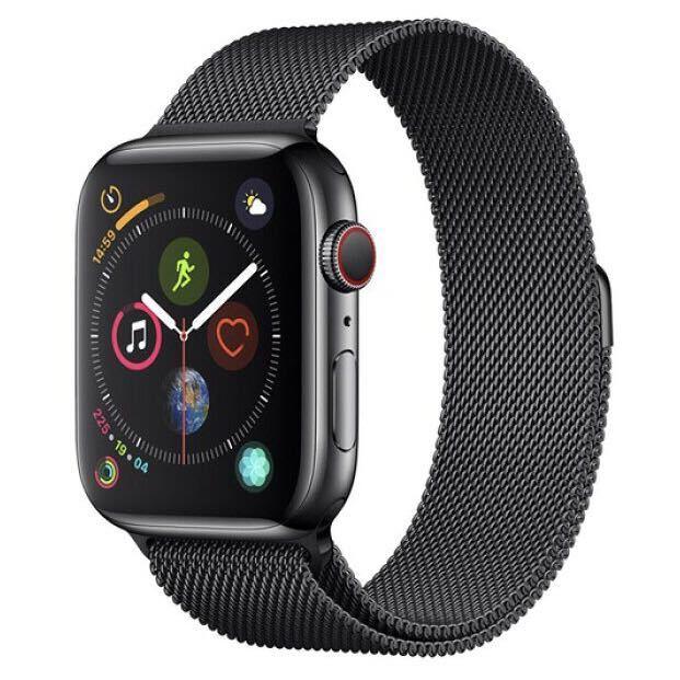 【新品同様】Apple Watch 4 cellular 44mm スペースグレイ ミラネーゼループ バンド付き(38 40 42 アップルウォッチ