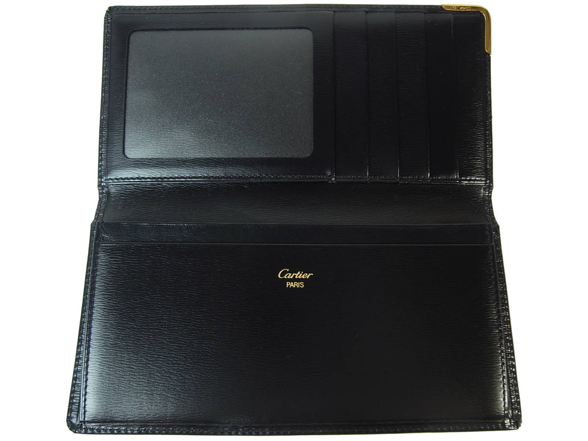 廃盤 美品 Cartier カルティエ 二つ折り長札入れ サファイアライン レザー 濃紺 ネイビー L3000149 メンズ レディース 送料無料 お札入れ_画像6