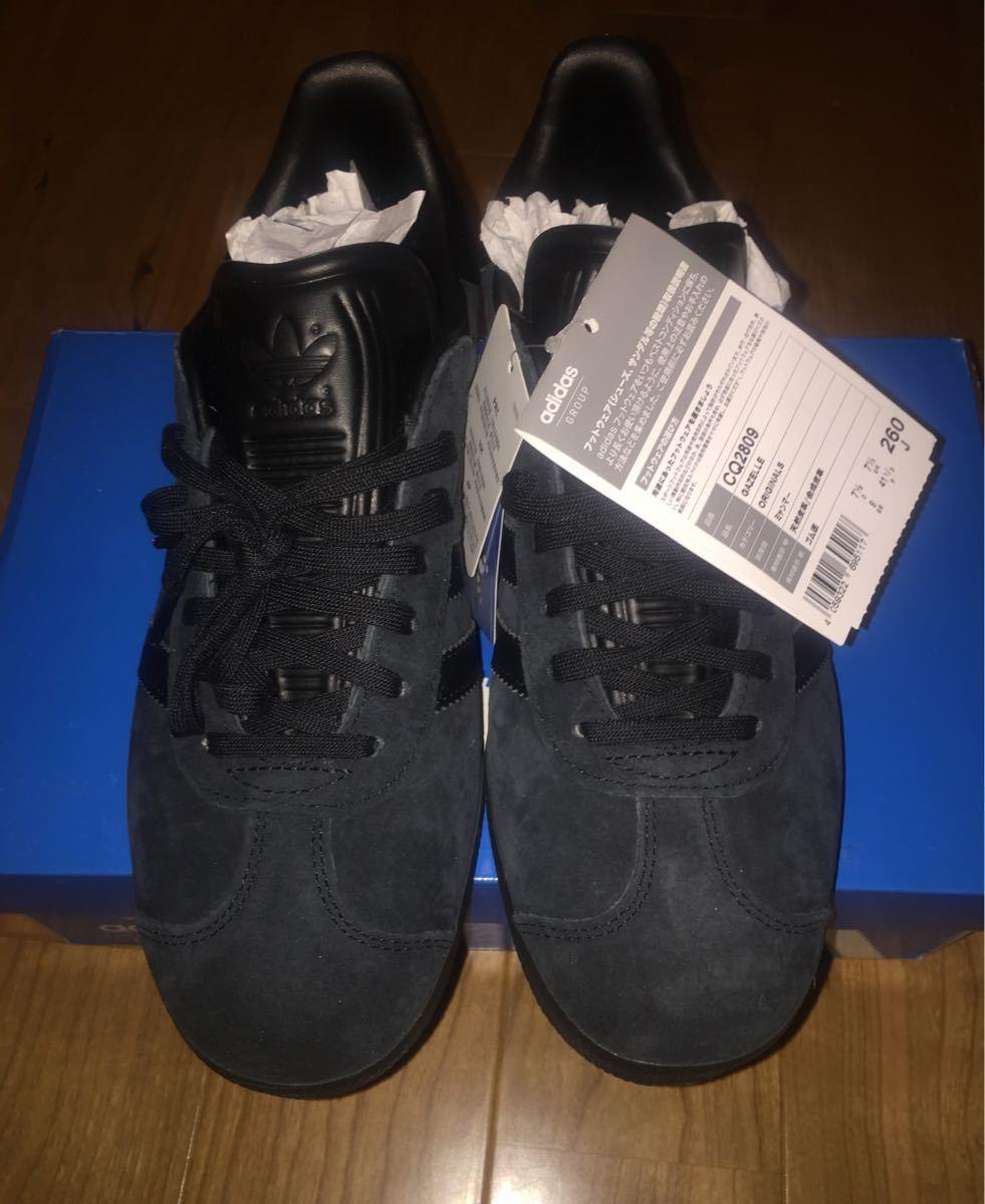 【即完売品】新品adidas gazelle アディダス ガゼル 26cmオールブラックUS8黒 ガッツレーcampus スタンスミス_画像2