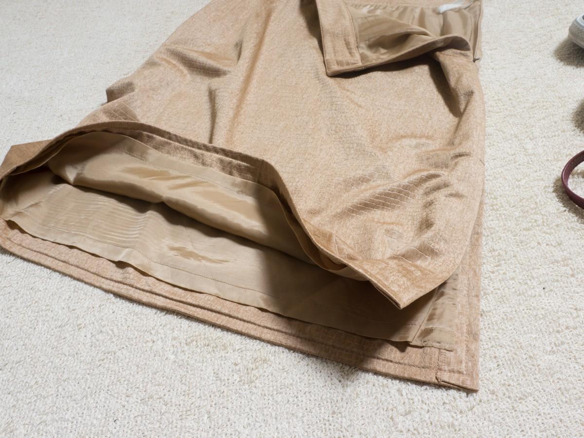 ゆうパケット◯ 美品 MOGA スカート ジャージ ストレッチ クロコ 型押し シンプル 上品 フェミニン 大きい ベージュ 17 日本製 7f7c004_画像5