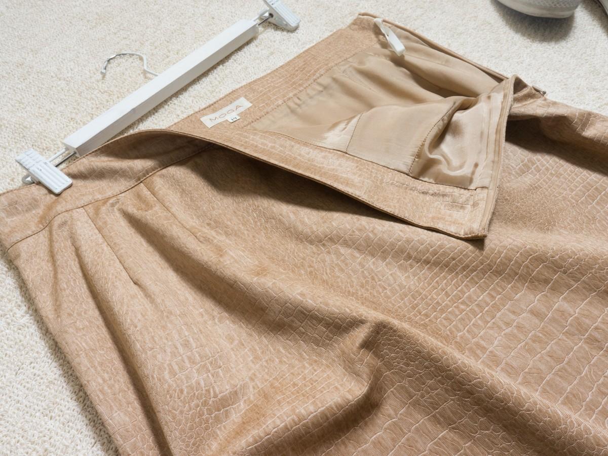 ゆうパケット◯ 美品 MOGA スカート ジャージ ストレッチ クロコ 型押し シンプル 上品 フェミニン 大きい ベージュ 17 日本製 7f7c004_画像3
