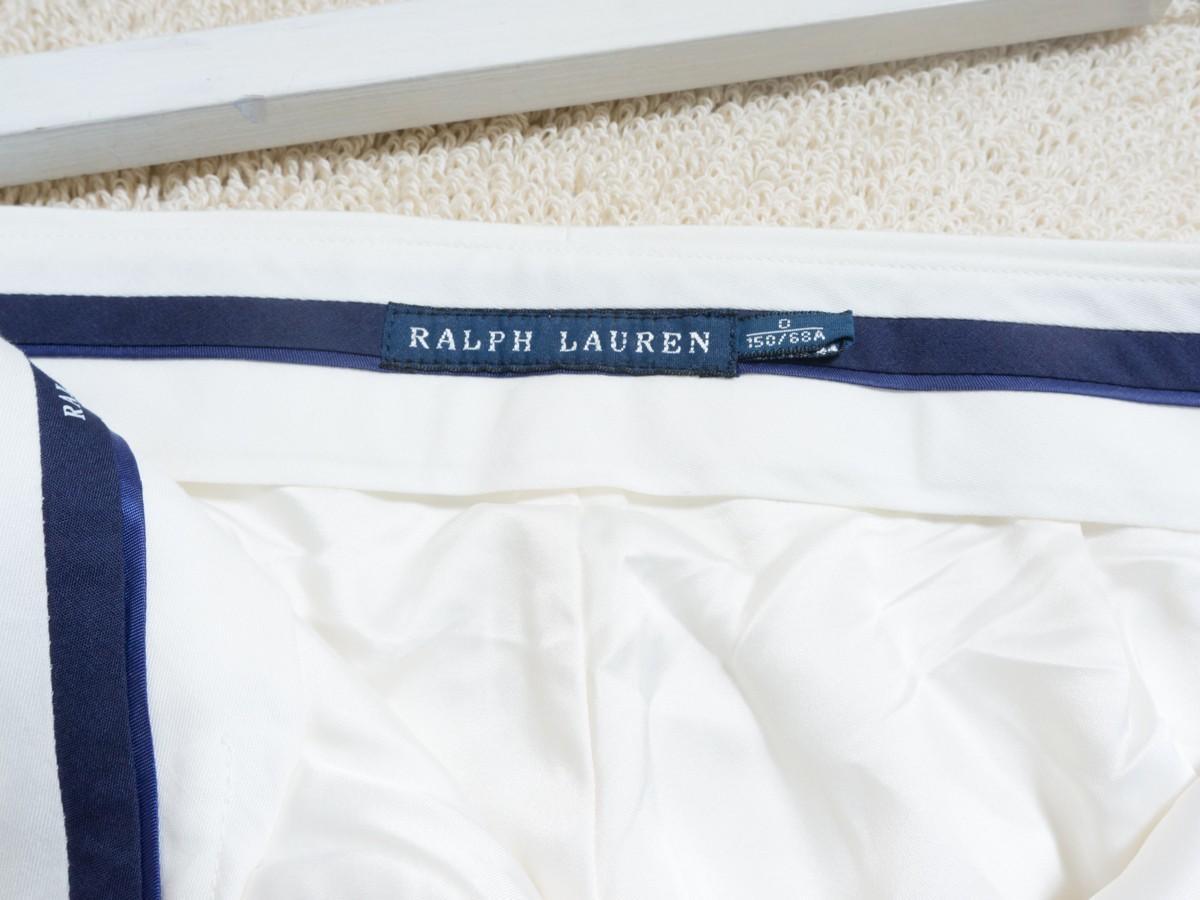 ゆうパケット○ 美品 RALPH LAUREN スラックス パンツ ボトムス テーパード ストレッチ きれいめ 上品 大人 高級 白/ホワイト 0 7f7c023_画像4