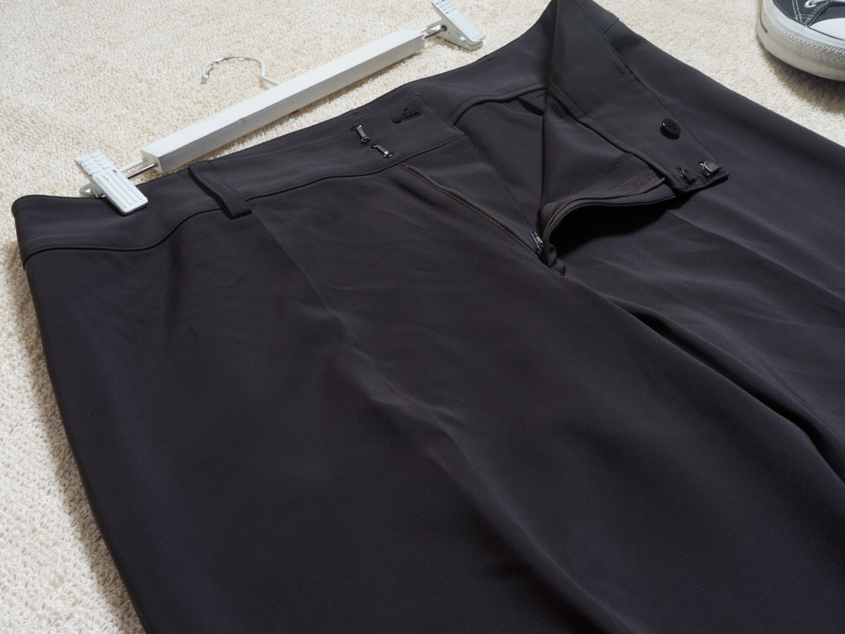 ゆうパケット○ 美品 MOGA パンツ スラックス きれいめ 大きいサイズ ワイド 太め 着回し オフィス グレー/灰 17 7f7c034_画像3