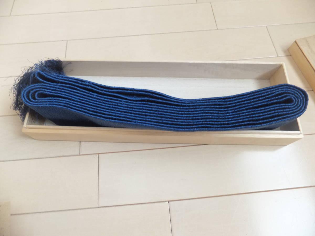 筑前博多織 特選 男帯 桐箱付 へちま 絹 100% 紺色 未使用品_画像5