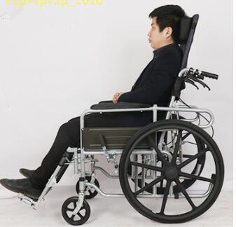 お年寄り 車椅子 折りたたみ式 軽量 ポータブル 便器付き 小型 多機能 完全に横になれる 身体障害者 手押し車SWX-LY170_画像2