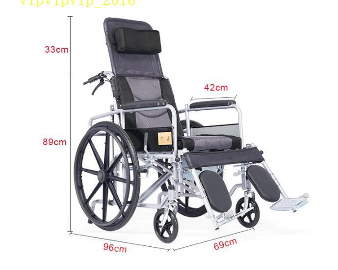 お年寄り 車椅子 折りたたみ式 軽量 ポータブル 便器付き 小型 多機能 完全に横になれる 身体障害者 手押し車SWX-LY170_画像4