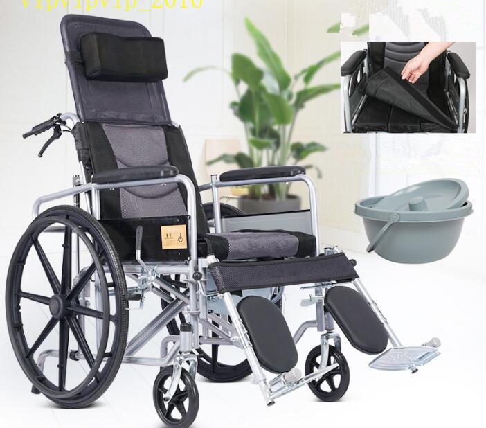 お年寄り 車椅子 折りたたみ式 軽量 ポータブル 便器付き 小型 多機能 完全に横になれる 身体障害者 手押し車SWX-LY170