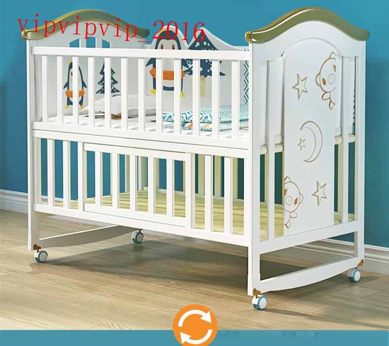 ベビー用ベッド ホワイト ヨーロッパ式 ソリッドウッド 多機能 子供用 ベッドSWXX-ZTC01