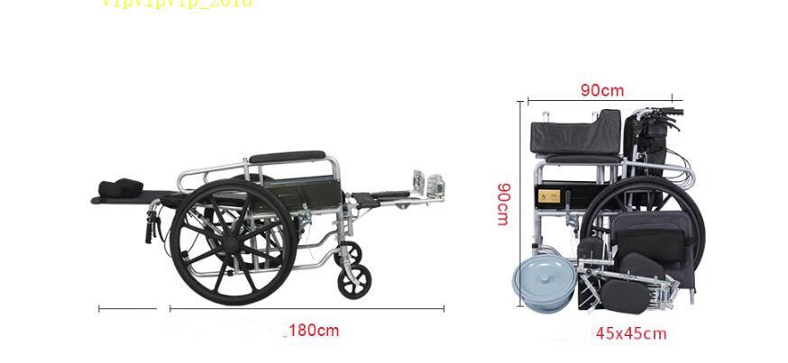お年寄り 車椅子 折りたたみ式 軽量 ポータブル 便器付き 小型 多機能 完全に横になれる 身体障害者 手押し車SWX-LY170_画像5