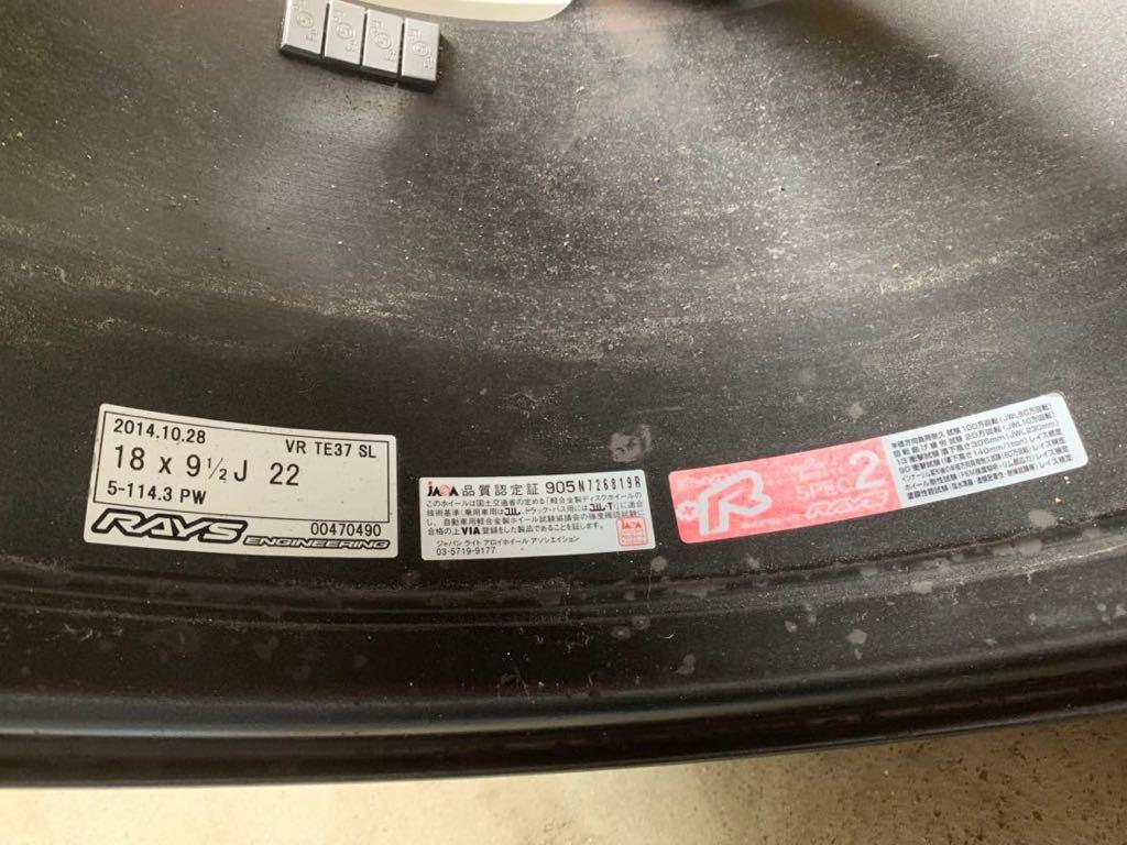 RAYS TE37 SL 18インチ 9.5j +22 ハンコックタイヤ付き_画像5