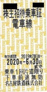名鉄株主優待乗車証 有効期限2020年6月30日 名古屋鉄道株式会社 株主招待乗車証 8枚