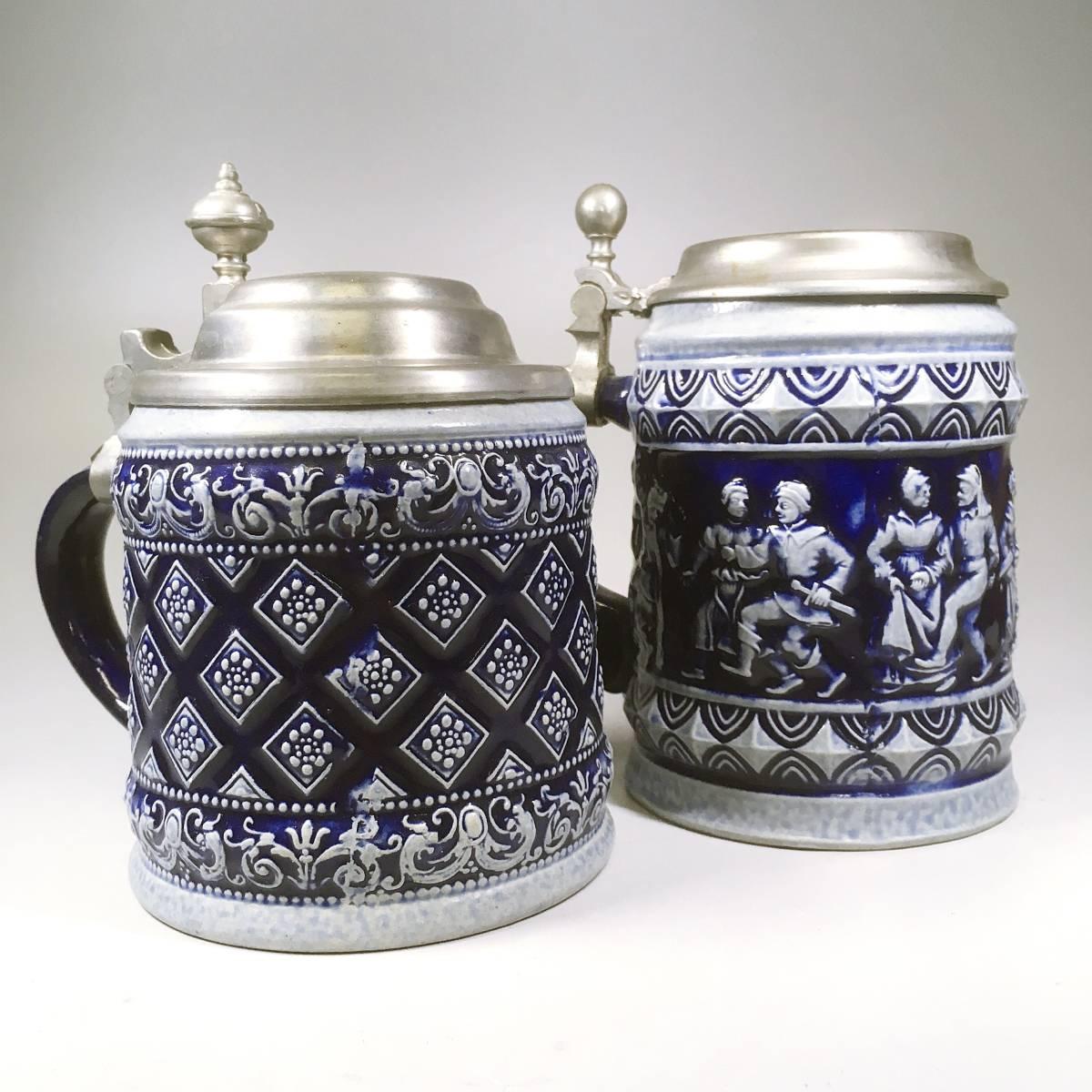 西ドイツ ビールジョッキ ビアグラス 2個セット 彫刻 ドイツスタイル 陶器製 グラス 蓋付 酒器