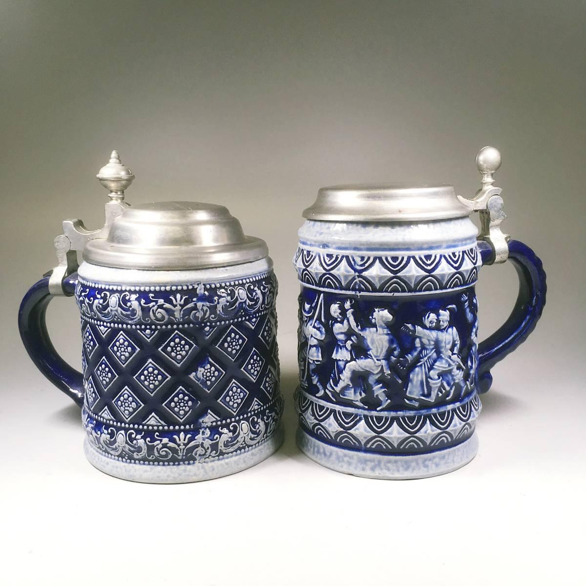 西ドイツ ビールジョッキ ビアグラス 2個セット 彫刻 ドイツスタイル 陶器製 グラス 蓋付 酒器_画像2
