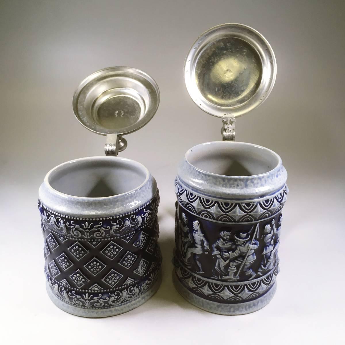 西ドイツ ビールジョッキ ビアグラス 2個セット 彫刻 ドイツスタイル 陶器製 グラス 蓋付 酒器_画像5