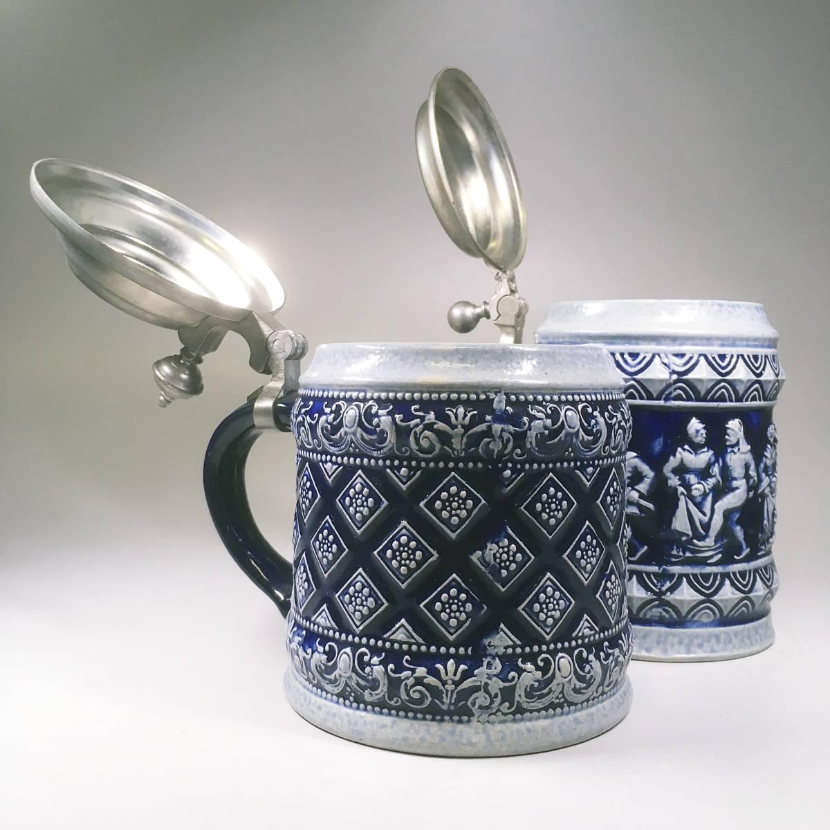 西ドイツ ビールジョッキ ビアグラス 2個セット 彫刻 ドイツスタイル 陶器製 グラス 蓋付 酒器_画像6