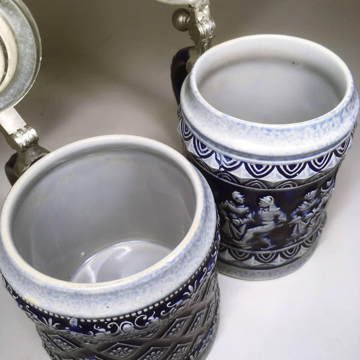 西ドイツ ビールジョッキ ビアグラス 2個セット 彫刻 ドイツスタイル 陶器製 グラス 蓋付 酒器_画像7