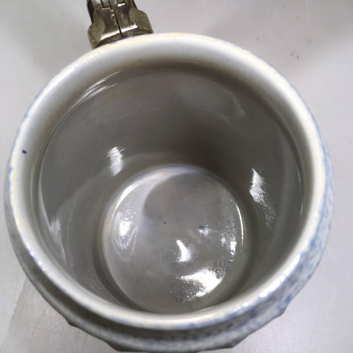 西ドイツ ビールジョッキ ビアグラス 2個セット 彫刻 ドイツスタイル 陶器製 グラス 蓋付 酒器_画像8