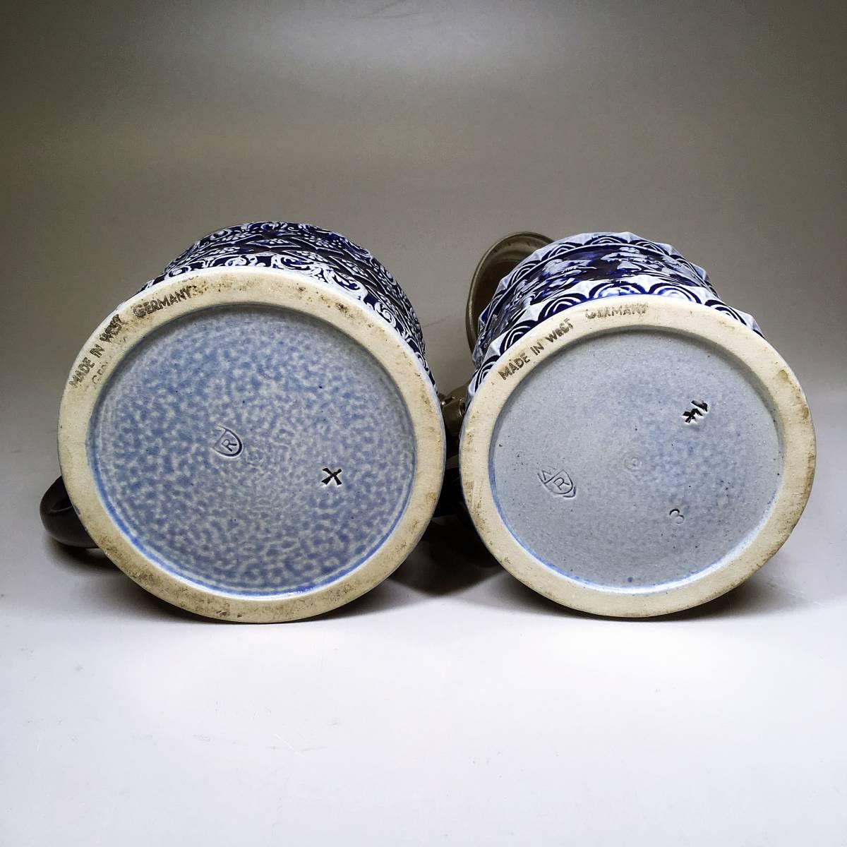 西ドイツ ビールジョッキ ビアグラス 2個セット 彫刻 ドイツスタイル 陶器製 グラス 蓋付 酒器_画像9