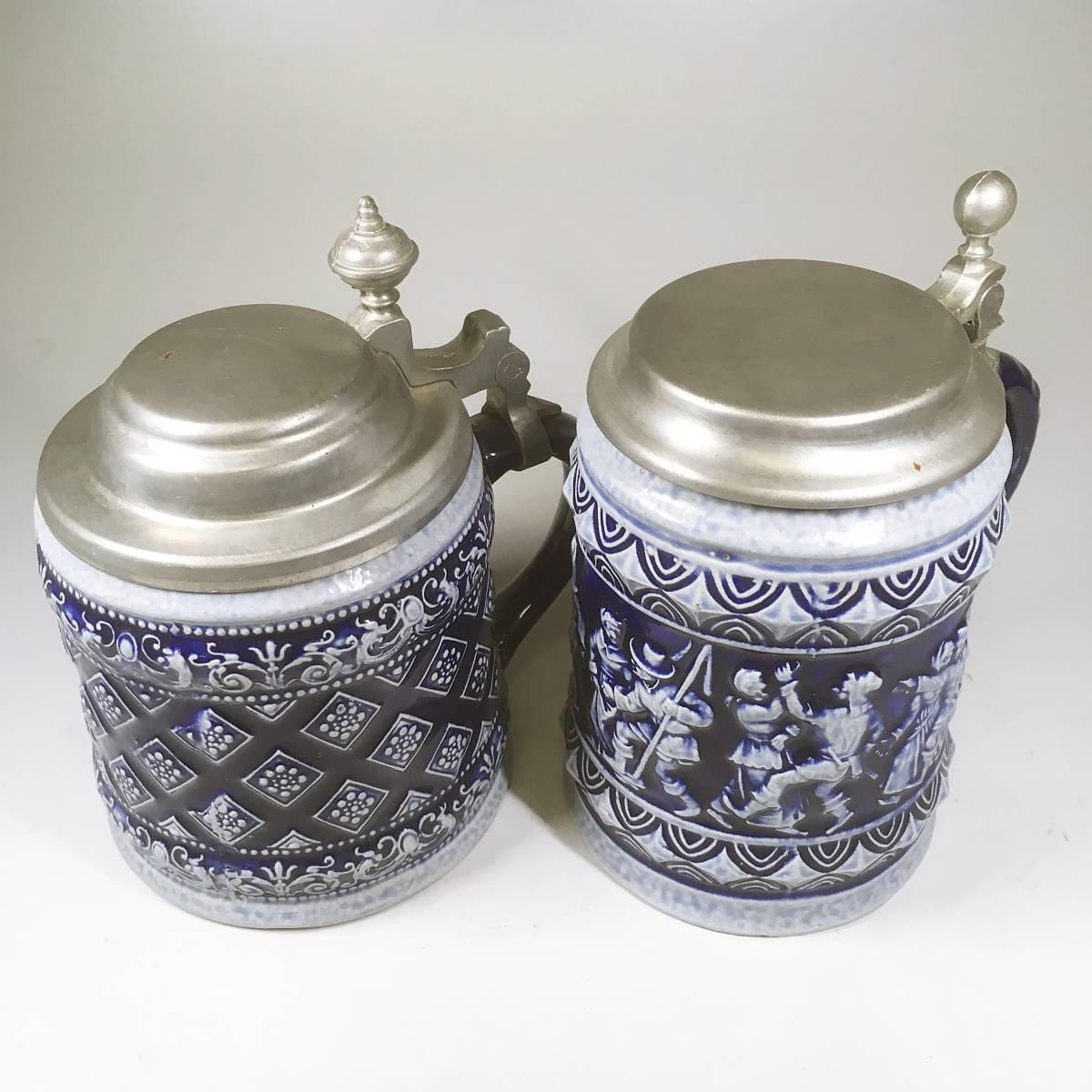西ドイツ ビールジョッキ ビアグラス 2個セット 彫刻 ドイツスタイル 陶器製 グラス 蓋付 酒器_画像4