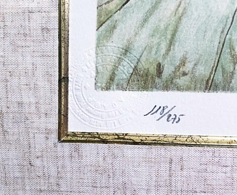 藤田治嗣 『鳩と少女』レオナール・フジタ 絵画 アート 版画 額装 人物画 リトグラフ 直筆サイン入り 真作 極美品_画像7