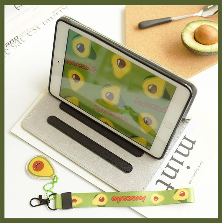 ipad mini5 ケース iPad mini(第5世代) 7.9インチ ケース シリコンカバー 耐衝撃 オードスリーブ機能 段階調整ストラップ付き アボカド_画像5