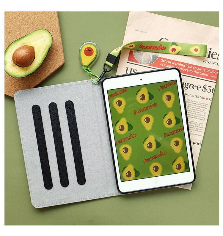 ipad mini5 ケース iPad mini(第5世代) 7.9インチ ケース シリコンカバー 耐衝撃 オードスリーブ機能 段階調整ストラップ付き アボカド_画像2