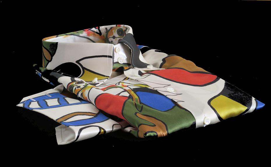 ★イタリアシルクシャツ DANROMA SILK SATIN DUE BOTTONI CONI GATTI 痛快!仰天!SURPRISE!最高にうれしく楽しくネコちゃんす S 38-87_画像1