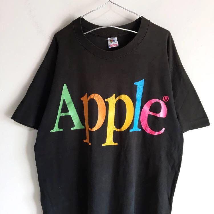 Travis Scott 着用 90s Apple レインボー ロゴ Tシャツ USA製 L ビンテージ Mac アップル 企業物 90年代 80s 古着 RAP シングルステッチ