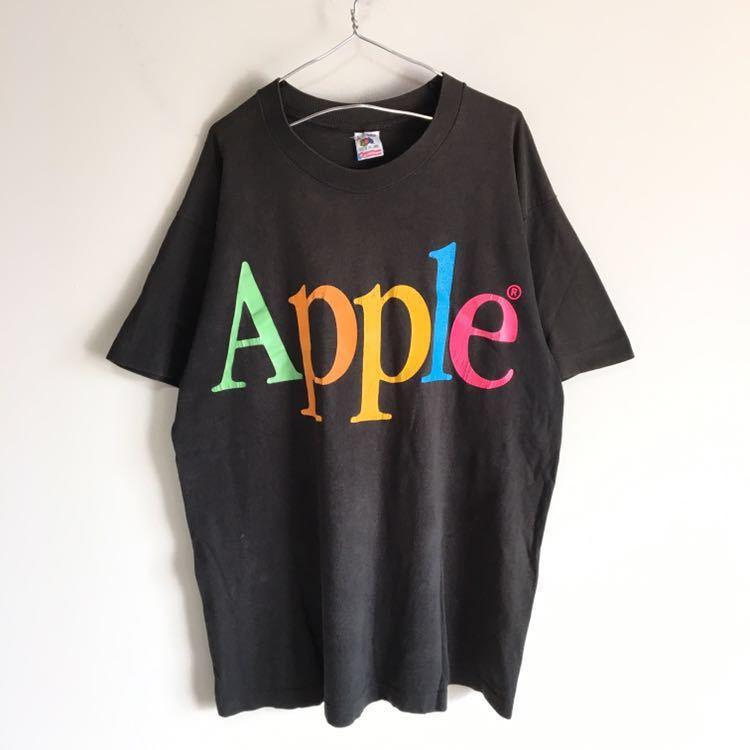 Travis Scott 着用 90s Apple レインボー ロゴ Tシャツ USA製 L ビンテージ Mac アップル 企業物 90年代 80s 古着 RAP シングルステッチ_画像2