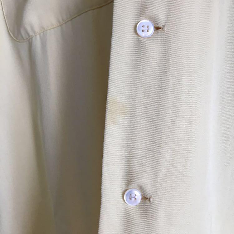 50s ARROW ギャバジン レーヨン シャツ ビンテージ 50年代 USA製 古着 開襟 ロカビリー 60s 単色 オープンカラー アメリカ製 ループ留め_画像7